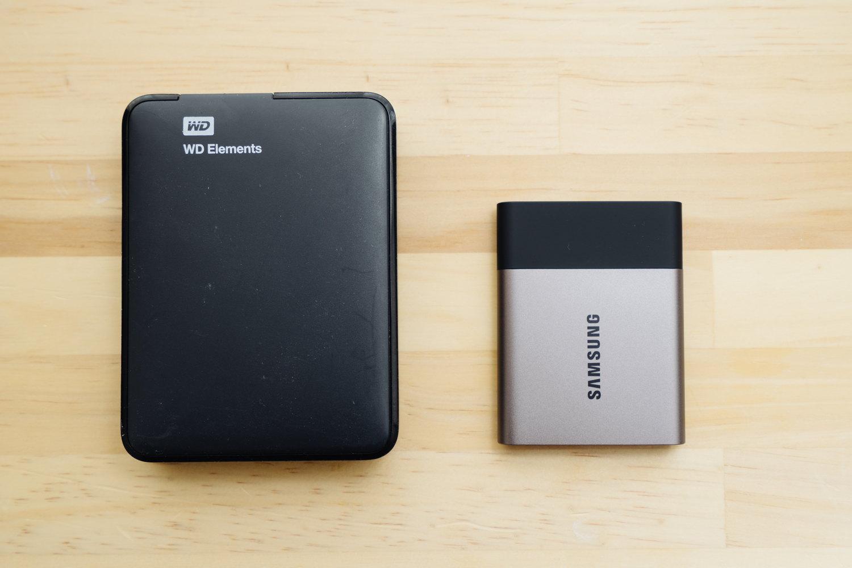 ポータブル SSD『サムスン T3 500GB』とポータブルHDDを比較したところ