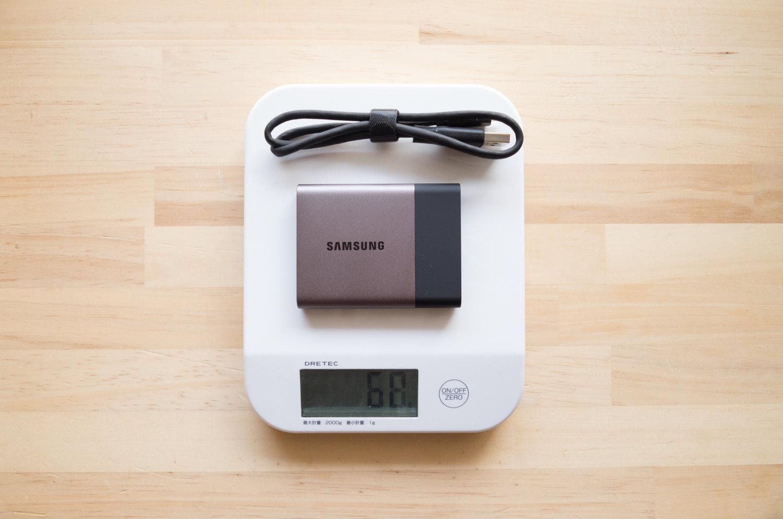 ポータブル SSD『サムスン T3 500GB』の重さ、重量